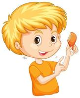 söt pojke som äter stekt kyckling på vit bakgrund vektor