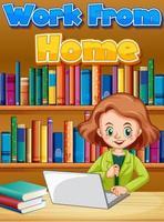 teckensnittsdesign för arbete hemifrån med kvinna som arbetar på dator