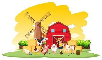 gårdsplats med jordbrukare och många djur på gården