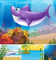 vier verschiedene Szenen von tropischem Strand und Unterwasser mit Sea Creater