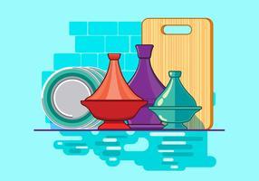 Marockansk Tajine samling med tallrik och kök bakgrund vektor