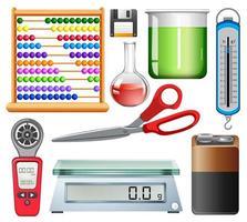 Satz von wissenschaftlichen Ausrüstungen auf weißem Hintergrund