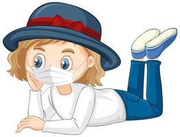 hatt flicka karaktär bär mask
