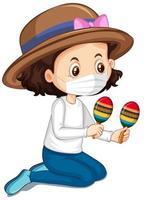flicka som bär mask som spelar maracas