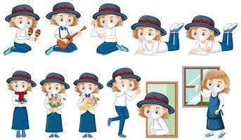 Mädchen-Zeichentrickfigur, die Maske trägt vektor