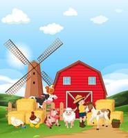 gårdsplats med jordbrukare och många djur på gården vektor