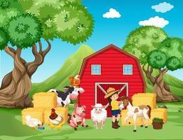 Bauernhofszene mit Bauer und vielen Tieren auf dem Bauernhof vektor