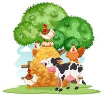 Bauernhofszene mit vielen Tieren auf dem Bauernhof vektor