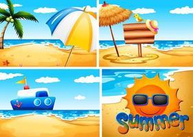 uppsättning sommarstrandbakgrund vektor