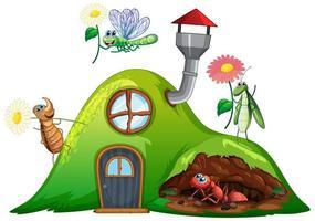 Gartenthema mit Insekten in ihrem Haus