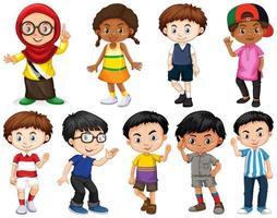 uppsättning glada barn som gör olika handlingar