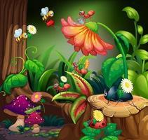 scen med växter och insekter i trädgården