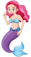 söt sjöjungfru tecknad karaktär