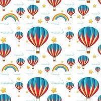 nahtloser bunter Ballon mit Regenbogen- und Sternmuster vektor