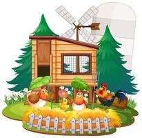 Farmthema Hintergrund mit Nutztieren vektor