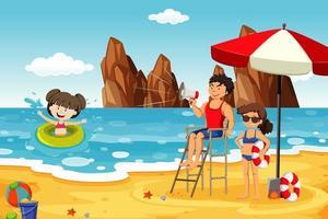 havsscen med människor som har kul på stranden vektor