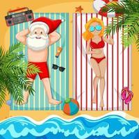 Weihnachtsmann nimmt Sonnenbad am Strand mit schöner Dame