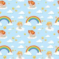sömlös söt ängel med regnbåge och stjärnmönster