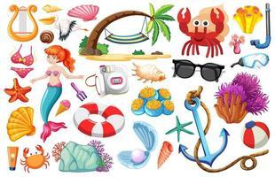 Satz Meerjungfrau und Sommerikonen-Zeichentrickfigur auf weißem Hintergrund vektor
