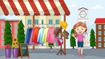 Mädchen, das Kleidung auf Flohmarkt verkauft vektor