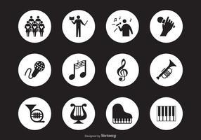 Svart musikaliska prestanda siluett vektor ikoner