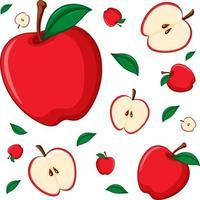 sömlös bakgrundsdesign med rött äpple vektor