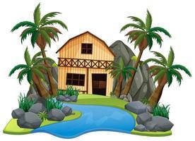 Szene mit Holzhaus auf weißem Hintergrund vektor