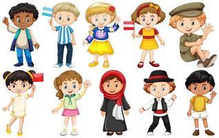 uppsättning barn från olika länder