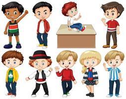 Satz glücklicher Kinder, die verschiedene Handlungen ausführen
