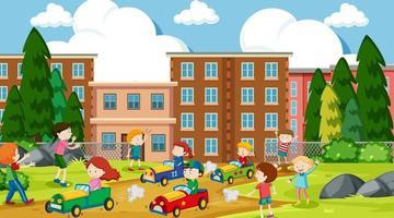 aktiva barn som leker i utomhus scen