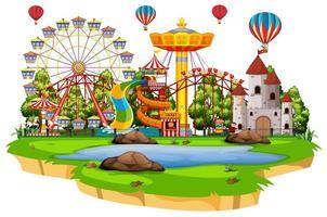 scen med många åkattraktioner i funparken på vit bakgrund vektor