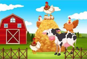 Bauernhofszene mit Bauernhoftieren auf dem Bauernhof vektor