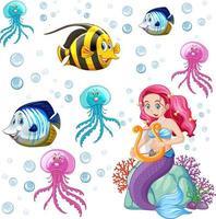 Satz Meerestiere und Meerjungfrau-Zeichentrickfigur auf weißem Hintergrund vektor