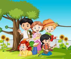 scen med många barn i parken vektor