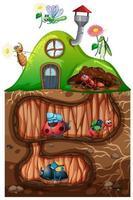 Gartenthema mit Insekten in ihrem Haus vektor