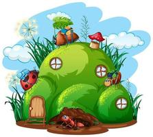 trädgårdsarbete tema med insekter i sitt hem