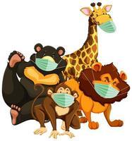 vilda djur seriefiguren bär mask vektor