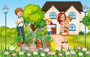 Szene mit der Familie, die eine gute Zeit zu Hause hat vektor