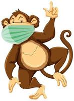 Affen-Zeichentrickfigur mit Maske vektor