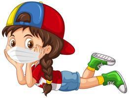 flicka seriefigur bär mask