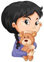 söt flicka kramar nallebjörn på vit bakgrund