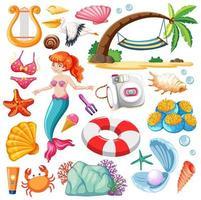uppsättning sjöjungfru och sommar ikon seriefiguren på vit bakgrund vektor