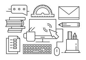 Free Vector Illustration mit Office Desk Objekte und Elemente
