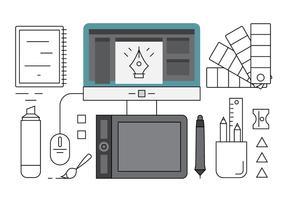 Linjära grafiska designerverktyg vektor