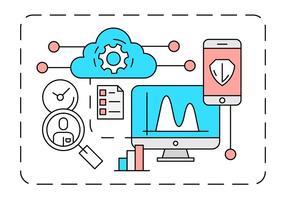Linjär Cloud Computing Illustration vektor
