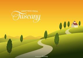 Toscana landsbygdens landskap med fält och kullar vektor