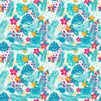 tropisches Muster mit Palmblättern und Blumen vektor