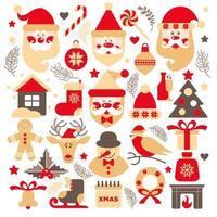 uppsättning jultomten med gåvor, träd och julelement vektor