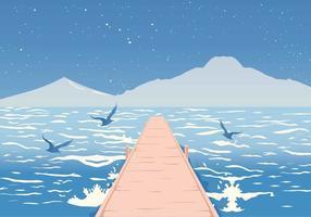 Strandpromenad på havet Vektor illustration