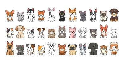 Cartoon Katzen und Hunde